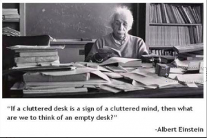 einstein cluttered desk