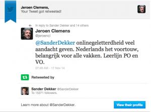 Retweet van Sander Dekker staatssecretaris onderwijs